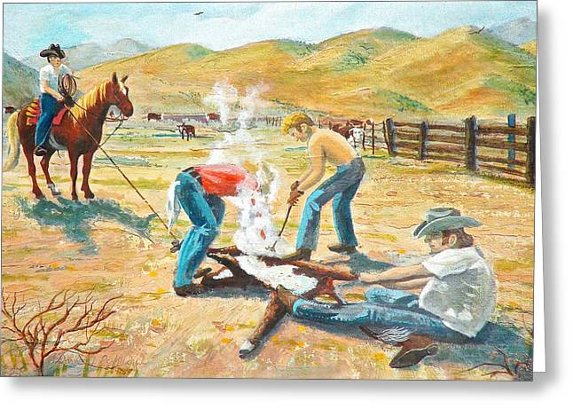 Greeting Card featuring the painting Rustlers Changing The Brand by Dan Redmon