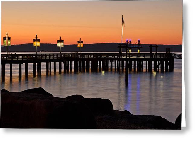 Ruston Way Tacoma Sunset Greeting Card by Bob Noble Photography