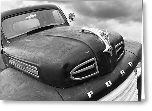 Rusty 1948 Ford V8 In Black And White Greeting Card by Gill Billington