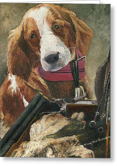 Greeting Card featuring the painting Rusty - A Hunting Dog by Mary Ellen Anderson