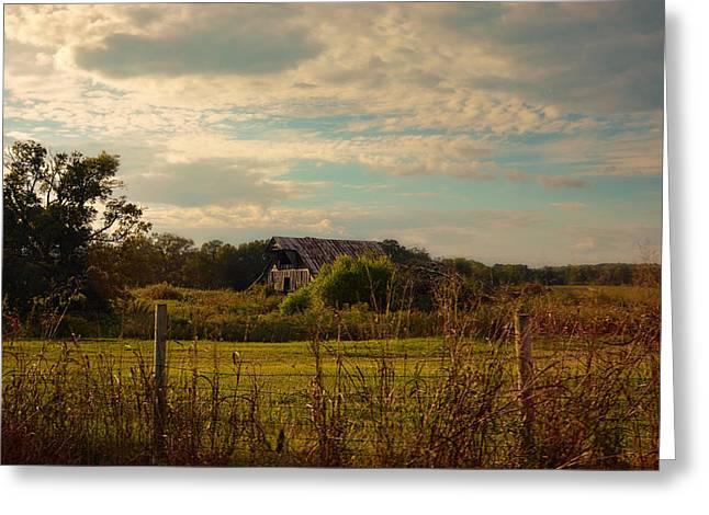 Rusty Barn At Sunset Greeting Card by Jai Johnson