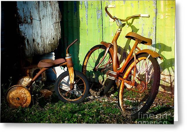 Rusty Bike Rides Greeting Card by Sonja Quintero