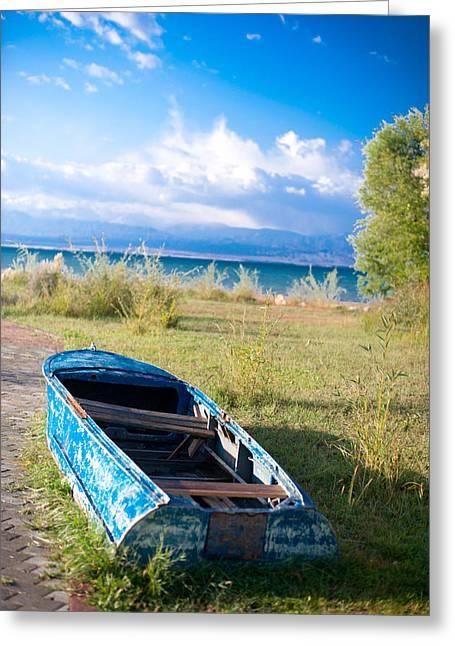 Rusty Blue Boat Greeting Card by Sofia Walker