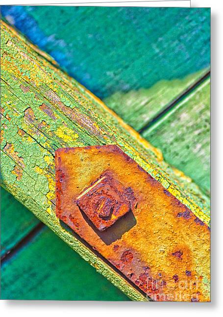 Rusty Bolt On Rotten Green Wood Greeting Card