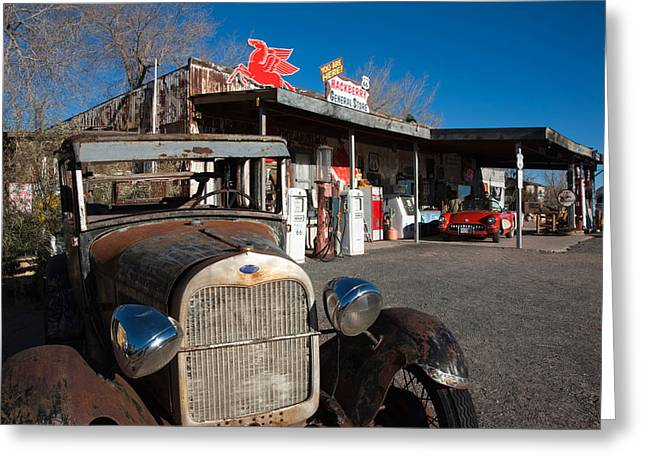 Rusty Car At Old Route 66 Visitor Greeting Card by Panoramic Images