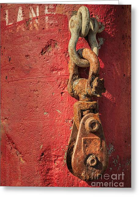 Rusty Chain On A Concrete Post Greeting Card by James Eddy