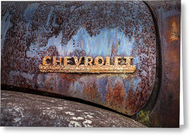 Rusty Chevrolet - Nameplate - Old Chevy Sign Greeting Card by Gary Heller