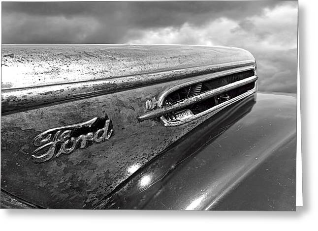 Rusty Ford Hood And Fender 1942 Black And White Greeting Card by Gill Billington