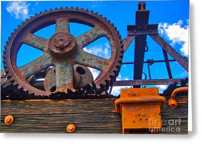 Rusty Gear Greeting Card by Gregory Dyer