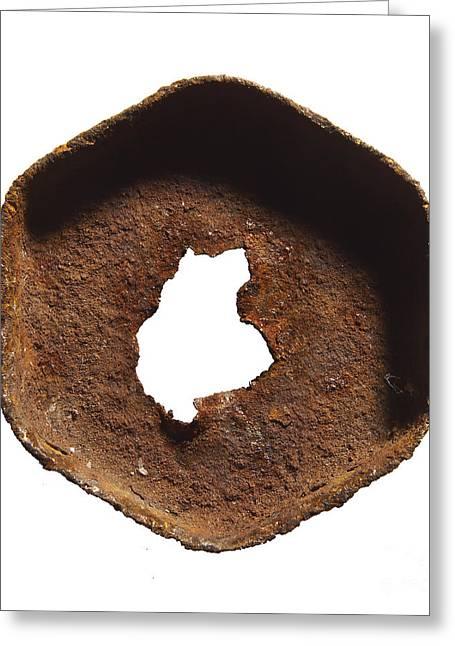 Rusty Hexagon Part Greeting Card by Tony Cordoza