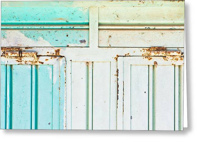 Rusty Hinges Greeting Card by Tom Gowanlock