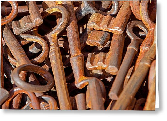 Rusty Keys Greeting Card by Art Block Collections