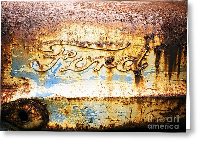 Rusty Old Ford Closeup Greeting Card by Edward Fielding