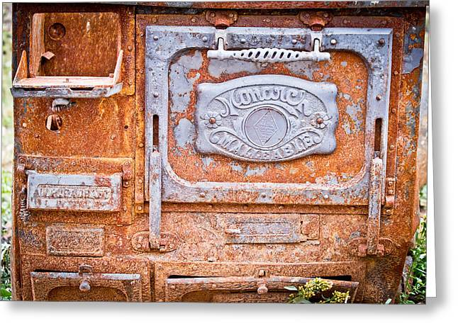 Rusty Old Monarch - Wood Cookstove - Casper Wyoming Greeting Card by Diane  Mintle - Rusty Old Monarch - Wood Cookstove - Casper Wyoming Photograph By