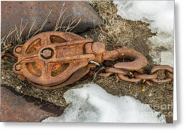 Rusty Pulley And Chain Greeting Card