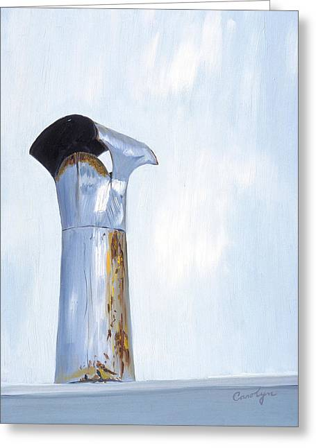 Greeting Card featuring the painting Rusty Silver Chimney Stack by Asha Carolyn Young