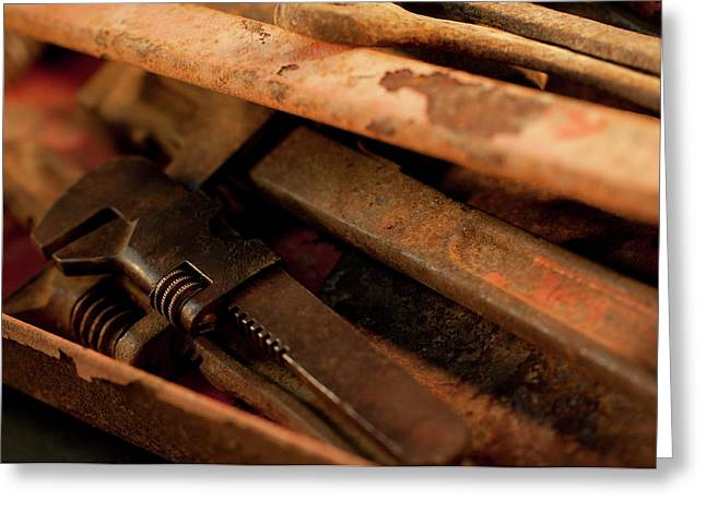 Rusty Toolbox And Tools Greeting Card by Wilma  Birdwell