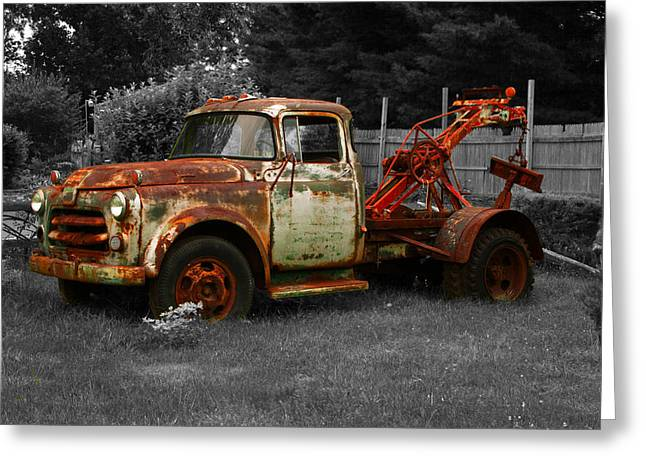 Rusty Tow Truck Greeting Card