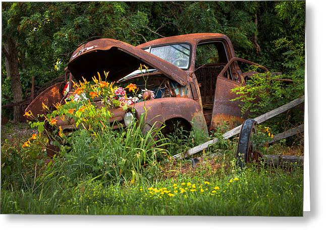 Greeting Card featuring the photograph Rusty Truck Flower Bed - Charming Rustic Country by Gary Heller