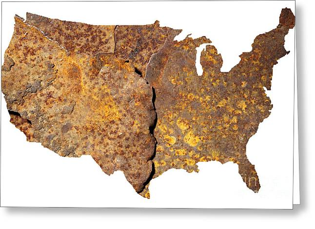 Rusty Usa Map Greeting Card by Tony Cordoza