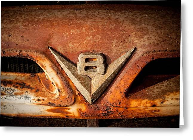 Rusty V8 Greeting Card by Paul Bartoszek