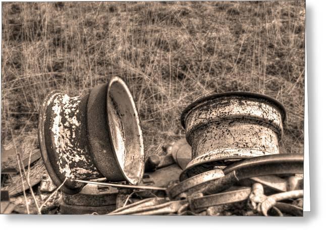 Rusty Vintage Wheels Greeting Card