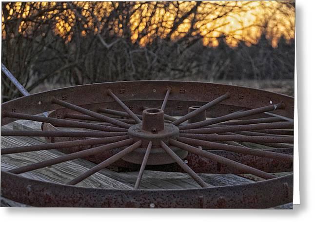 Rusty Wagon Wheel At Sunset Up Close Greeting Card