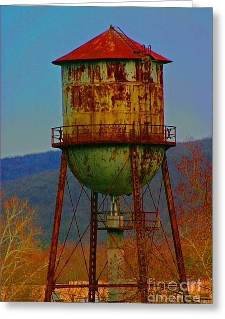 Rusty Water Tower Greeting Card by Beth Ferris Sale