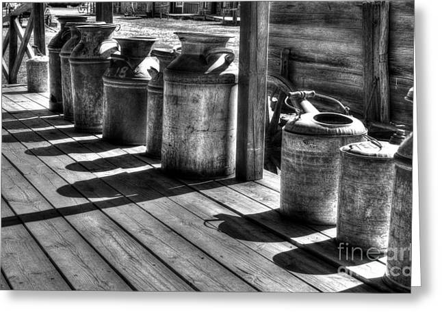 Rusty Western Cans Bw Greeting Card