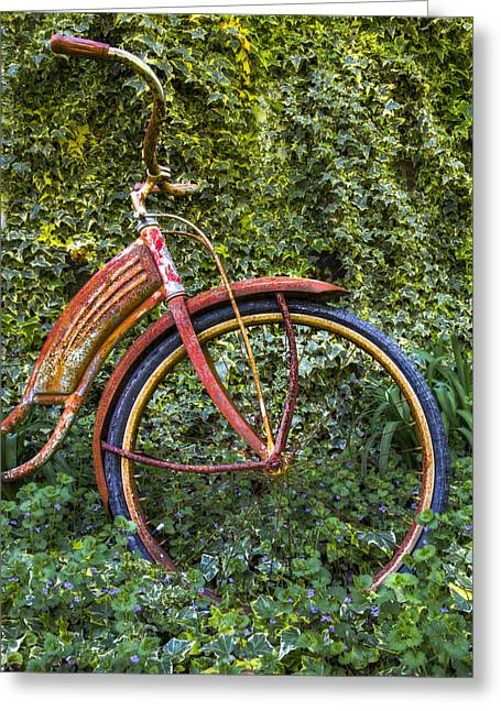 Rusty Wheel Greeting Card by Debra and Dave Vanderlaan