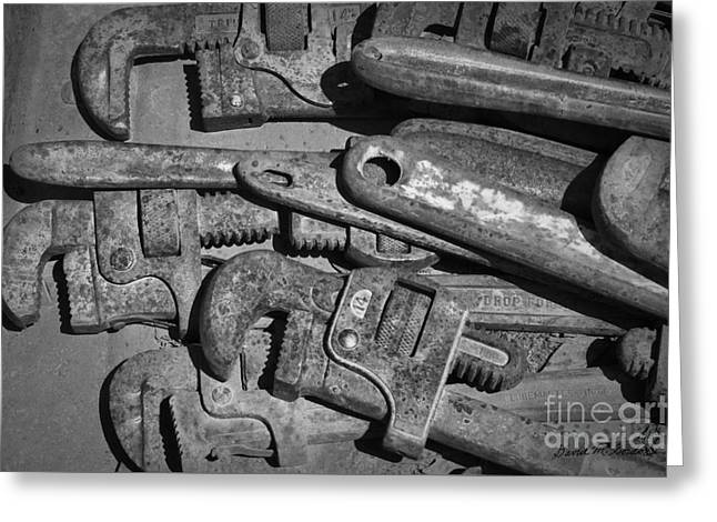 Rusty Wrenches Bw Greeting Card by Dave Gordon