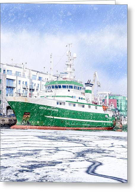 Rv Celtic Explorer In Port At Galway Harbor Greeting Card