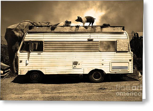Rv Trailer Park 5d22705 Sepia V2 Greeting Card by Wingsdomain Art and Photography