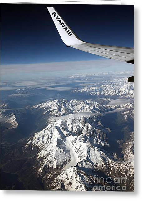 Ryanair Over The Alps Greeting Card by Ros Drinkwater