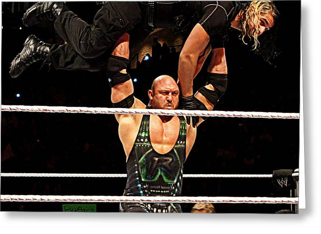Ryback And Shield Greeting Card by Paul  Wilford