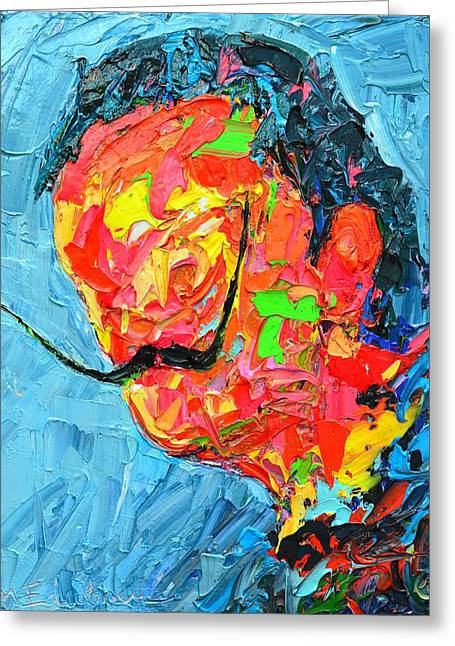 S D 2530 - Dali Abstract Expressionist Portrait  Greeting Card by Ana Maria Edulescu