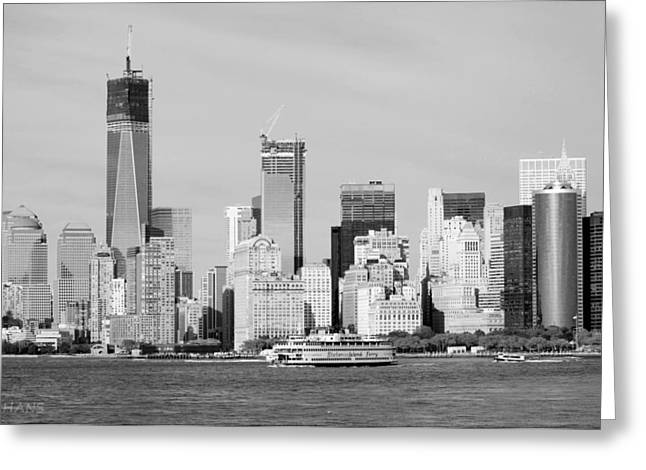 S I Ferry And 1 W T C In Black And White Greeting Card by Rob Hans