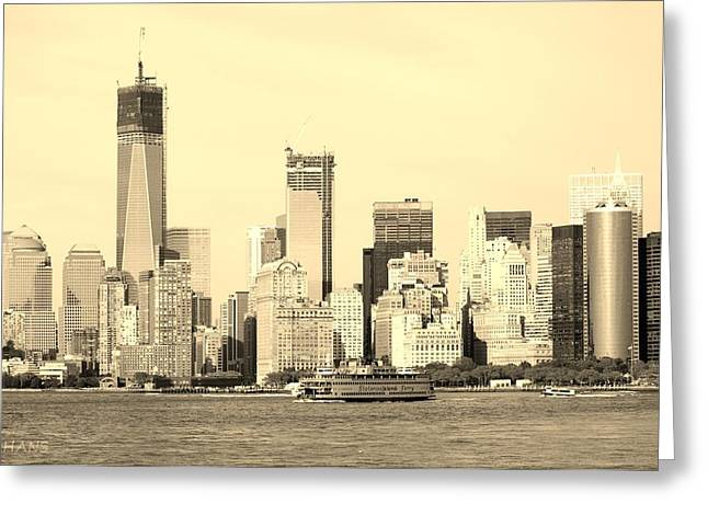 S I Ferry And 1 W T C In Sepia Greeting Card by Rob Hans