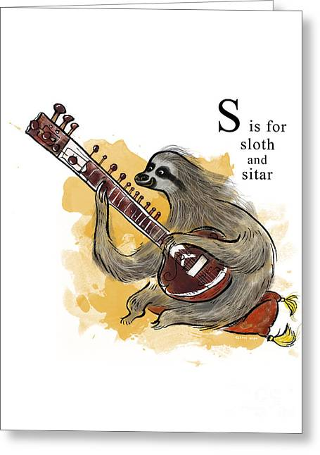S Is For Sloth Greeting Card by Sean Hagan