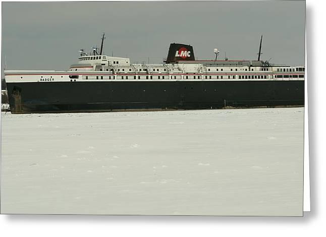 S S Badger In Frozen Ludington Harbor  Greeting Card