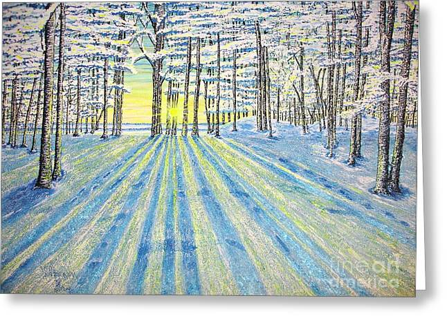 Greeting Card featuring the painting S. Winter. by Viktor Lazarev
