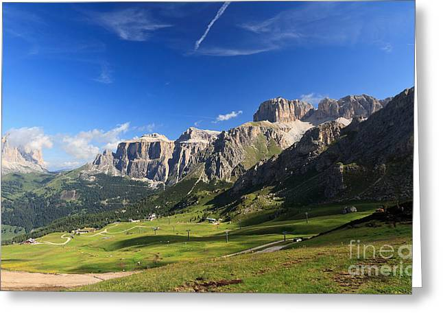 Saas Pordoi And Fassa Valley Greeting Card
