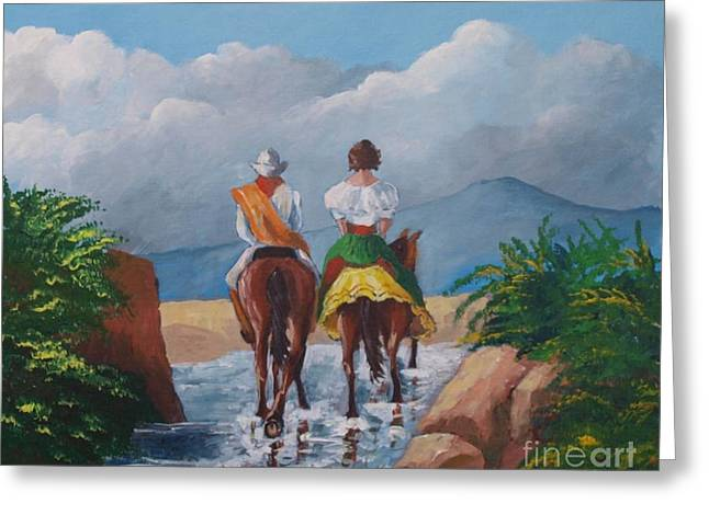 Sabanero And Wife Crossing A River Greeting Card