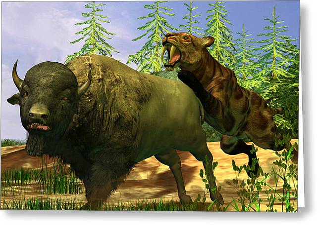 Saber Greeting Cards - Saber-Toothed Tiger Greeting Card by Corey Ford