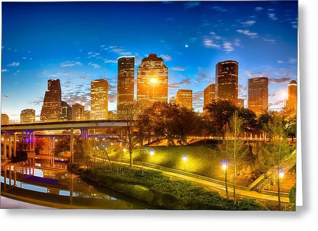 Sabine Street View Of Houston Greeting Card by Kayta Kobayashi