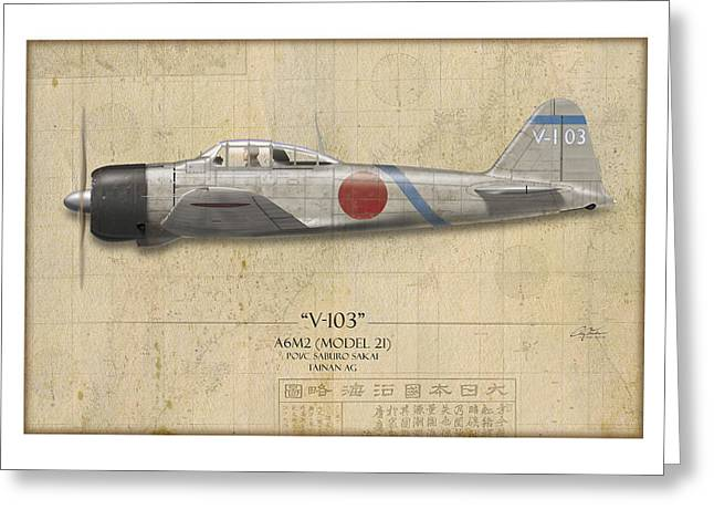 Saburo Sakai A6m Zero - Map Background Greeting Card by Craig Tinder