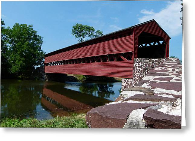 Greeting Card featuring the photograph Sachs Covered Bridge by Cindy McDaniel