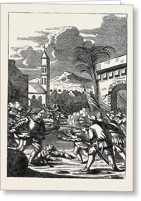 Sack Of Puerto Del Principe. From The History Greeting Card by English School