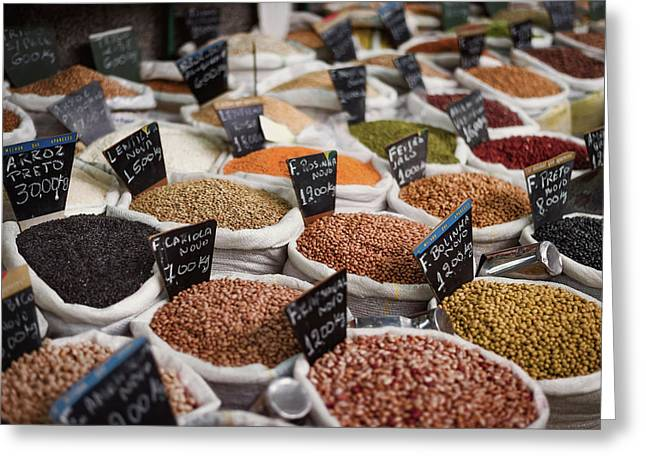Sacks Of Beans And Grains In Market Greeting Card by Ktsdesign/science Photo Library