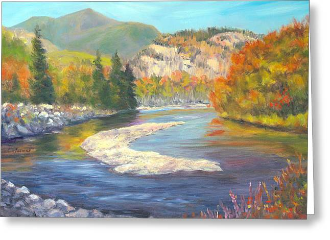 Saco River And Cathedral Ledge, North Conway, Nh Greeting Card by Elaine Farmer